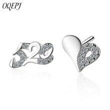 OQEPJ Fashin Creative No.520 Heart Earring 925 Sterling Silver Wedding Shiny Rhinestone Earrings Romantic Love Jewelry For Women