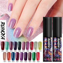 Ruhoya Nagellack Gel 5ml Maniküre Set Benötigen UV LED lampe Basis top Mantel UV Hybrid Neon Gel lack tränken weg vom Nagel kunst Lacke(China)
