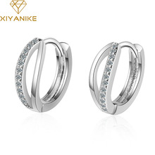 XIYANIKE 925 Sterling Silver Korean Style Double Circle Earrings New Classic Fashion Earrings Simple Rhinestone Earrings Jewelry