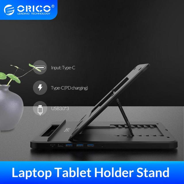 ORICO Tablet Laptop Holder Stand Height Adjustable 3 Ports USB3.0 Docking Station with Holder PD Charging For  PC Notebook