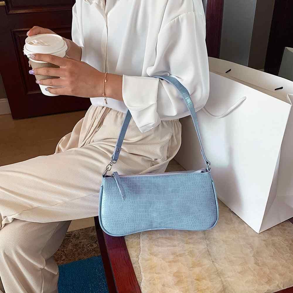 Retro Alligator Muster Frauen Schulter Taschen PU Leder Casual Subaxillary Taschen Bolsa Mujer 2020 Neue Designer Weibliche Tote Taschen