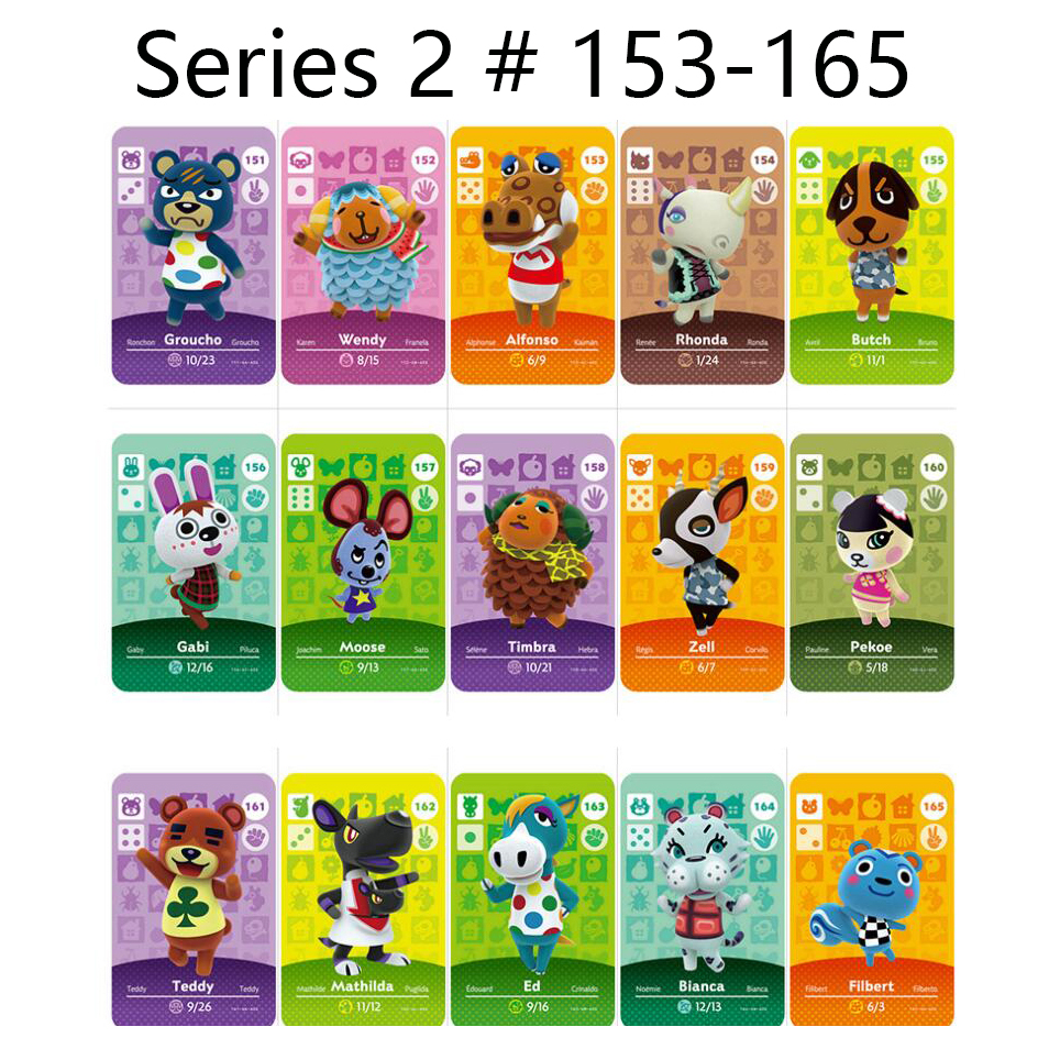 Series 2 (153 To 165) Animal Crossing Card Amiibo Locks Nfc Card Work For Switch NS 3DS Games Series 2 (153 To 165)