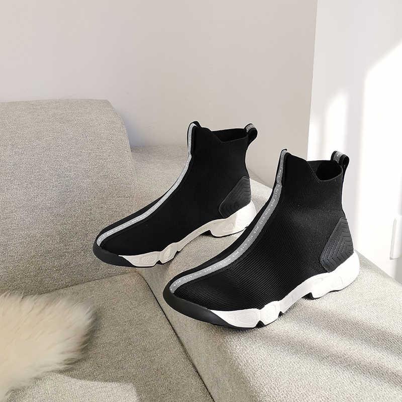 Streç Deri Çizmeler Kadın yarım çizmeler Kadın Kare Topuklu bayan resmi elbise ayakkabıları Ilkbahar Sonbahar Ayakkabılar Kadın Büyük Boy 43