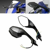Motorcycle Rearview Side Mirrors LED Turn Signal Light  2