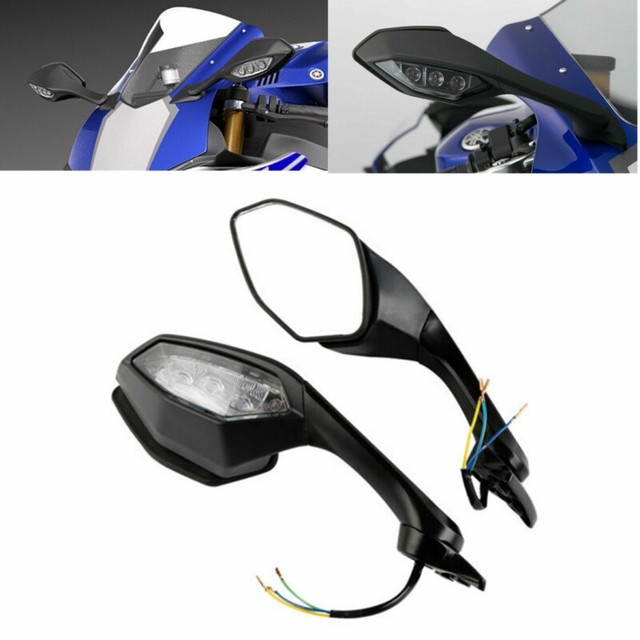 Motorcycle Rearview Mirror Side Mirror LED Turn Signal Light For Yamaha YZF R6 2017 YZF R1 2015-2019 16 1