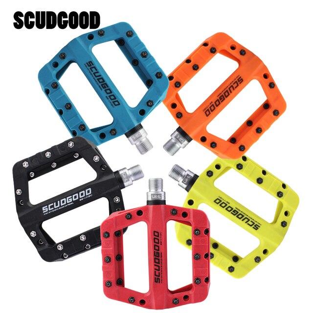 Scudgood自転車ペダルナイロン炭素繊維超軽量ワイドベアリングペダルフラットプラットフォームペダルmtbロードバイクペダル自転車部品