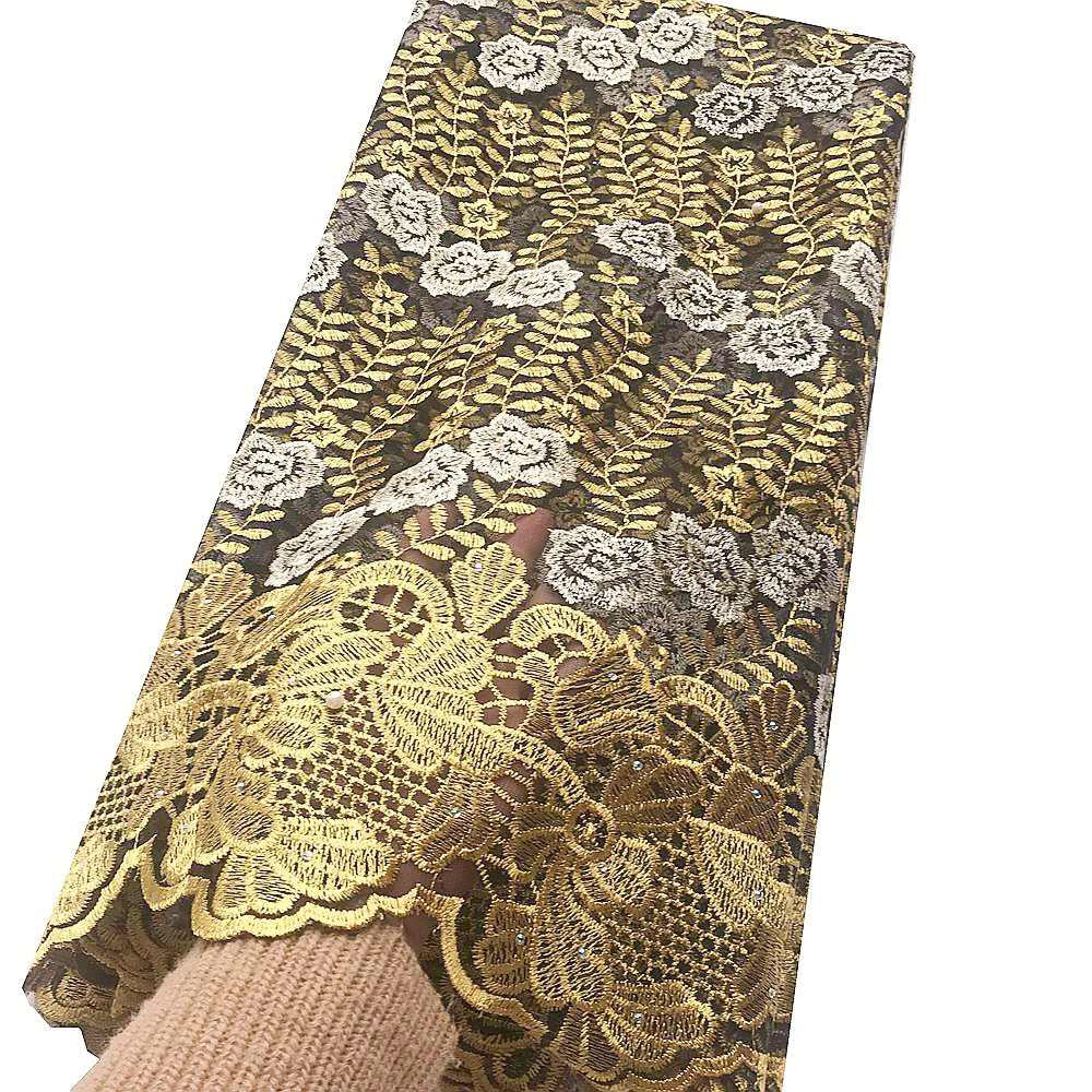 Блестящая французская Тюлевая кружевная ткань с вышивкой 2020 бусина Корейская Высококачественная африканская кружевная золотая металлическая гипюровая Свадебная кружевная ткань