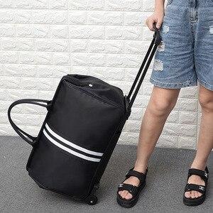 Вместительная женская сумка для багажа, портативная складная посылка на колесиках, дорожная сумка для посадки, органайзер для багажа, аксес...