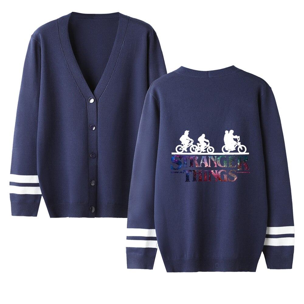 Stranger Things V-neck Cardigan Sweater Men/women New Sale Fashion Navyblue Casual Harajuku Sweater Stranger Things Casual Tops