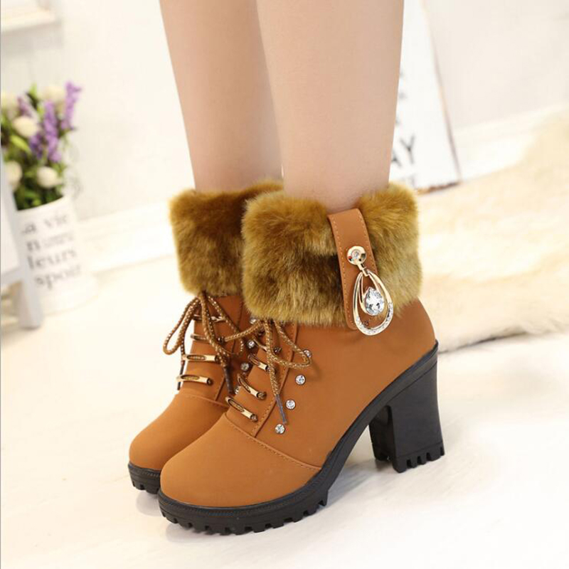 Winter Boots Women Shoes Woman Boots Snow Boots Ankle Boots Fashion Comfortable Warm High Heel 2019 Winter New Thick Warm X45