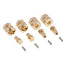 4 pièces de 4mm de roue en laiton élargi adaptateur hexagonal étendu pièces de mise à niveau pour 1/24 RC chenille axiale SCX24 90081 AXI00002 accessoires