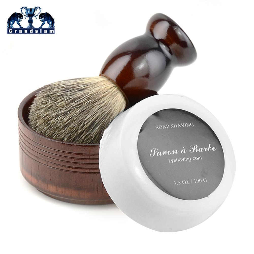 Grandslam 3in1 Pure Badger Shaving Brush Natural Wood Handle Shaving Razor Foam Cream Mug Soap Bowl For Men Safety Razor