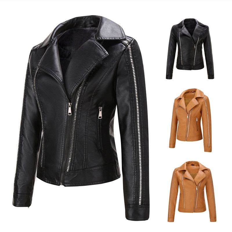 2019 Fashion Spring Autumn   Leather   Jacket Women PU Short Coat Long sleeve Rivet Diagonal zipper Motorcycle Outerwear female 2946