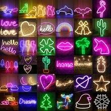Yaratıcı LED Neon ışık pil işletilen USB Powered LED ışıkları yatak odası parti düğün noel hediyesi süslemeleri neon ışık