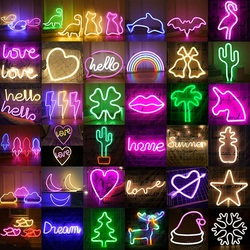 Creative LED Neon Light Battery Operated USB Powered LED lights bedroom party Wedding  Christmas Gift decorations neon light