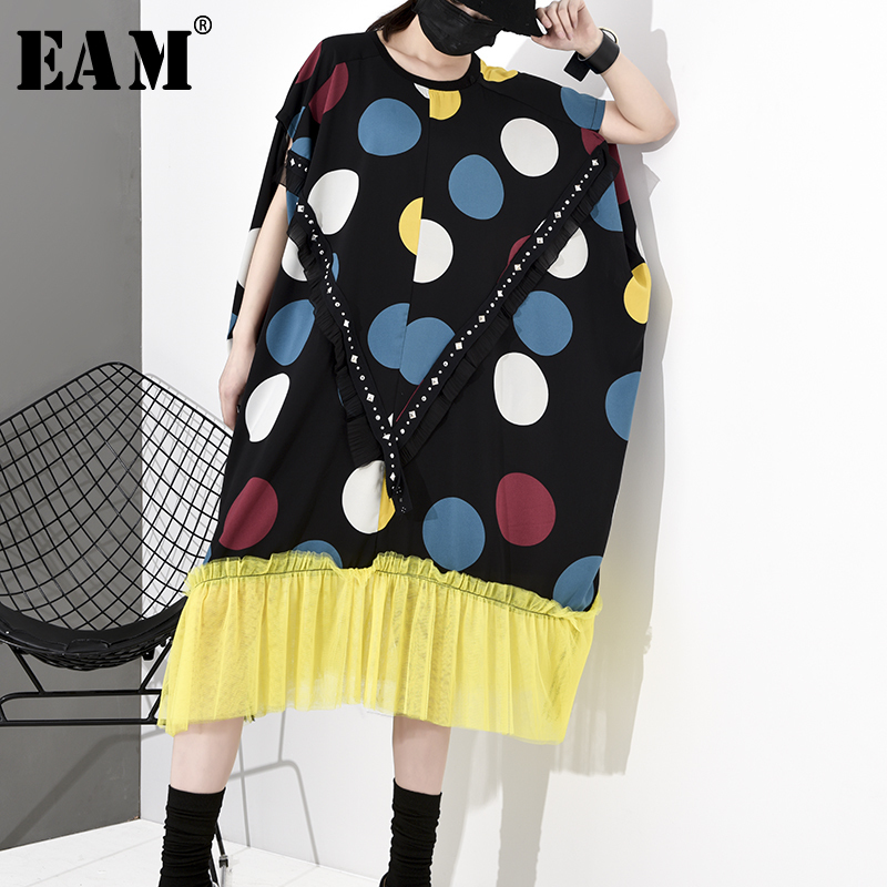 [EAM] Women Dot Printed Mesh Pleated Big Size Dress New Round Neck Short Sleeve Loose Fit Fashion Tide Spring Autumn 2020 1S035