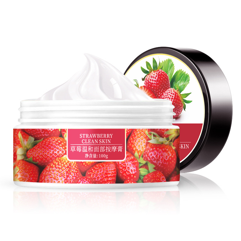 MICAOJI Strawberry Face Massage Cream Plant Essence Moisturizing Scrub Deep Clean Exfoliate Smoothing Nourishing Care