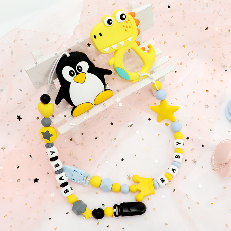 TYRY.HU Personalized Silicone Teether Beads Cartoon Pacifier Chain Baby Teething DIY Nursing Pacifier Clips Silicone Teether