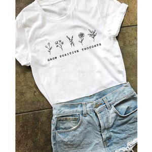 T-Shirt Vintage Boho Tee Graphic Mental Slogan Positive Floral-Print Women Thoughts Top