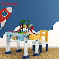 6 In 1 Kids Activity Table Chair Set 3 Heights Adjustable Safe ABS Materials Learning Multifunction Children Furniture Sets