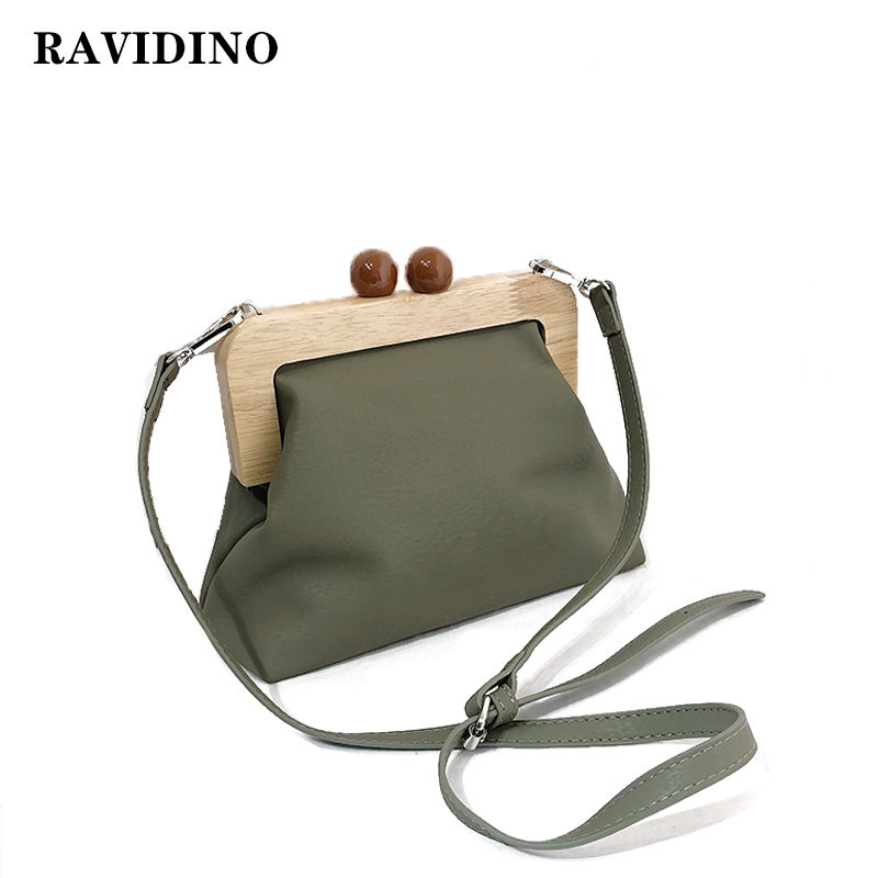 Vintage Wood Clip Handle women bag Simple Retro Pu Leather Clip Bag Female Shoulder Messenger Bag crossbody bags Female bolsa