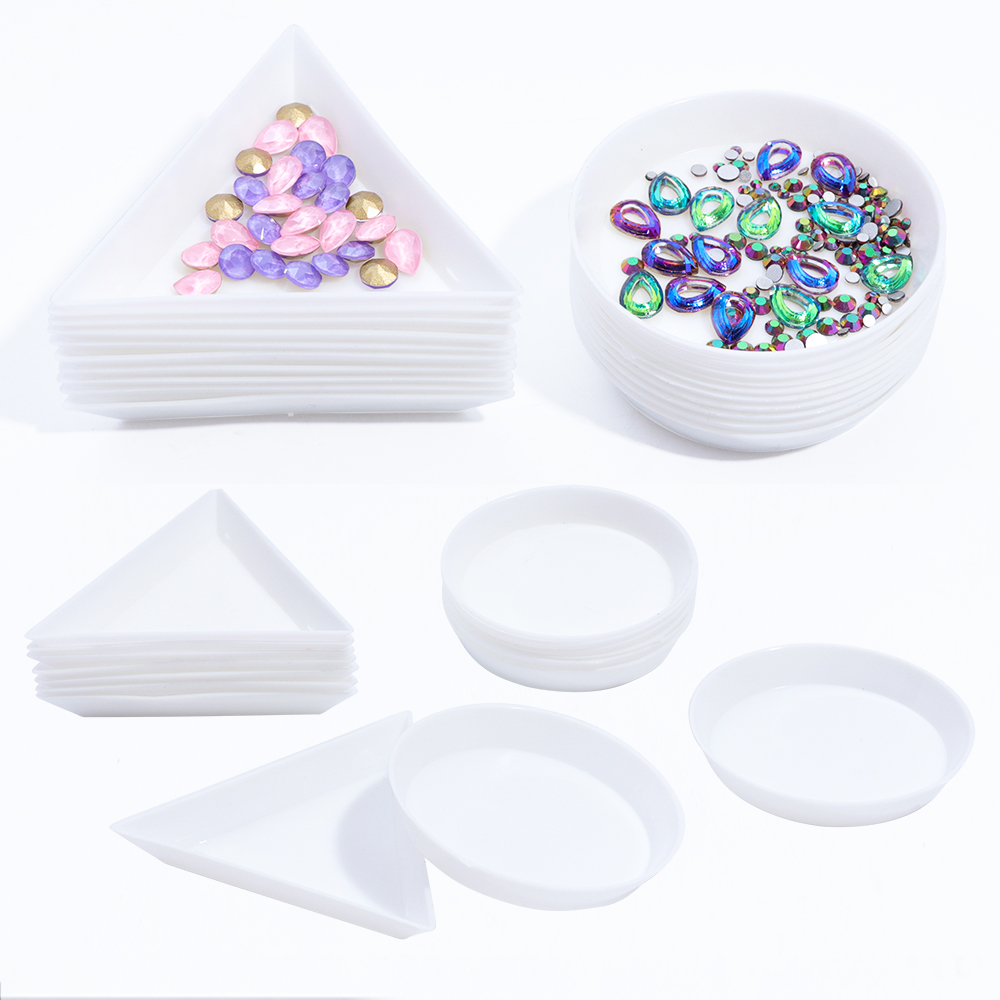 5pcs Round Triangle Plastic Rhinestone Nail Art Box Plate Tray Holder Storage Container Jewelry Glitter Cup Manicure Tool LAA11