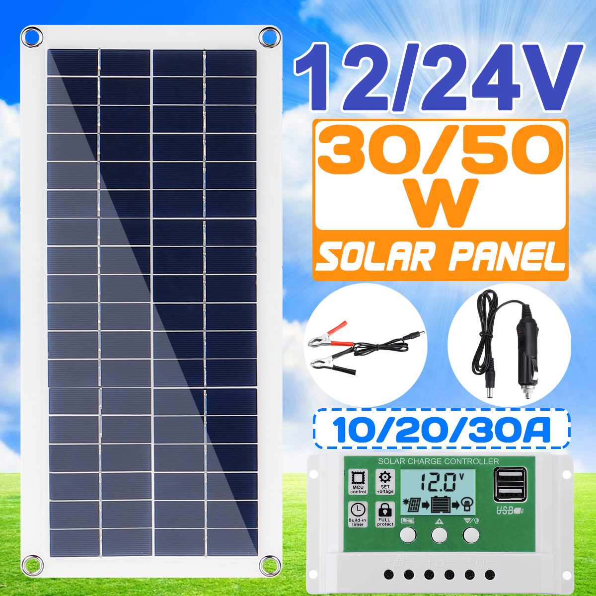 30W/50W/60W Solar Panel Dual USB Output Solar Cells Poly Solar Panel 10/20/30A Controller for Car Yacht 12V Battery Boat Charger