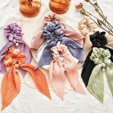 Chouchou en Satin de soie froissé pour femmes, avec ruban noué pour queue de cheval, grande perle, anneau pour cheveux, couleur unie, bandes élastiques plissées