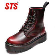 STS nowe buty damskie moda zimowa podnieś buty damskie skórzane buty kostki Zapatos Hombre wodoodporne buty w stylu Casual damska tanie tanio STRONGSHEN CN (pochodzenie) Skóra Split ANKLE Szycia Stałe kkjordeng-1300 Dla dorosłych Mieszkanie z Buty motocyklowe