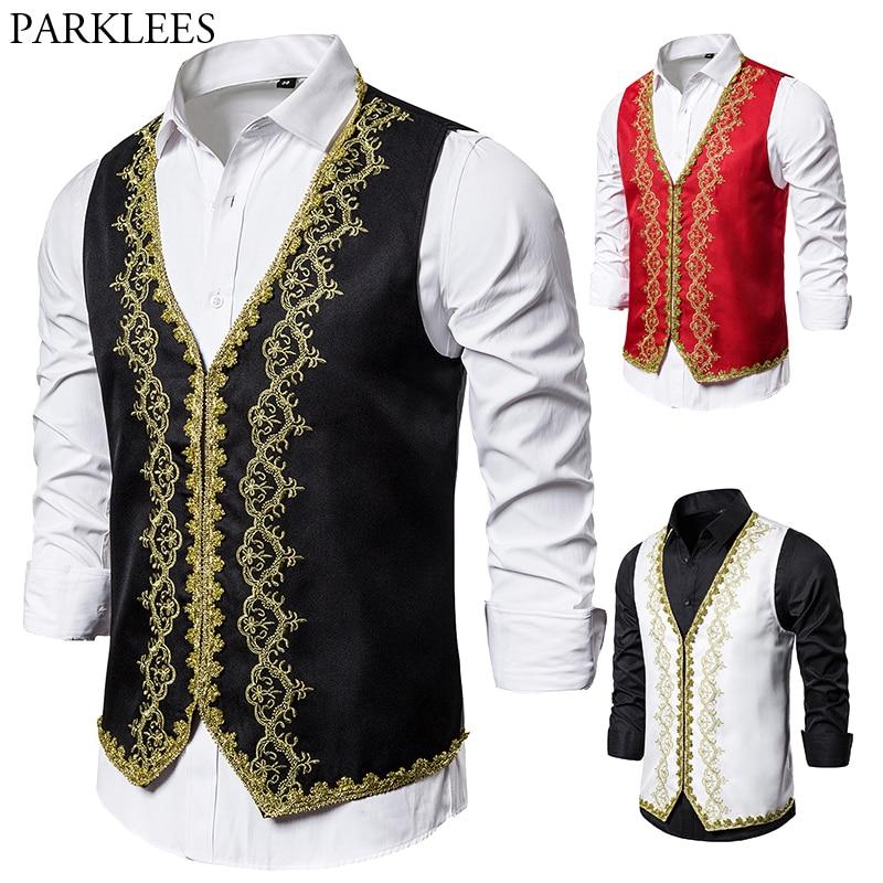 Men's Gold Embroidery Vests Baroque Palace Vintage Black Vest Men Wedding Party Stage Performance Gilet Waistcoat Mens Suit Vest