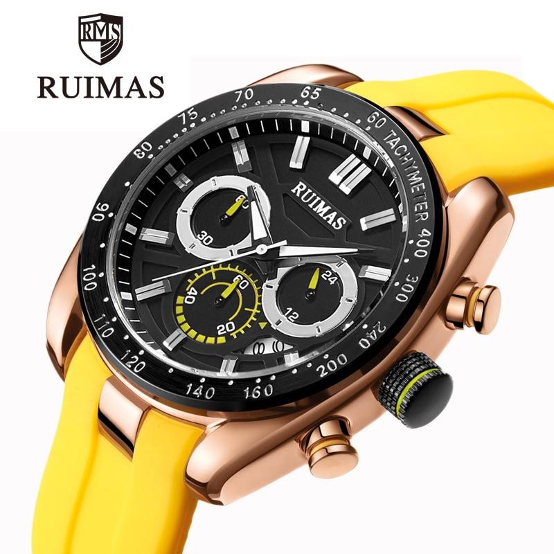 RUIMAS hommes montre Top luxe marque jaune hommes Quartz sport mode montres chronographe militaire horloge homme étanche montre-bracelet