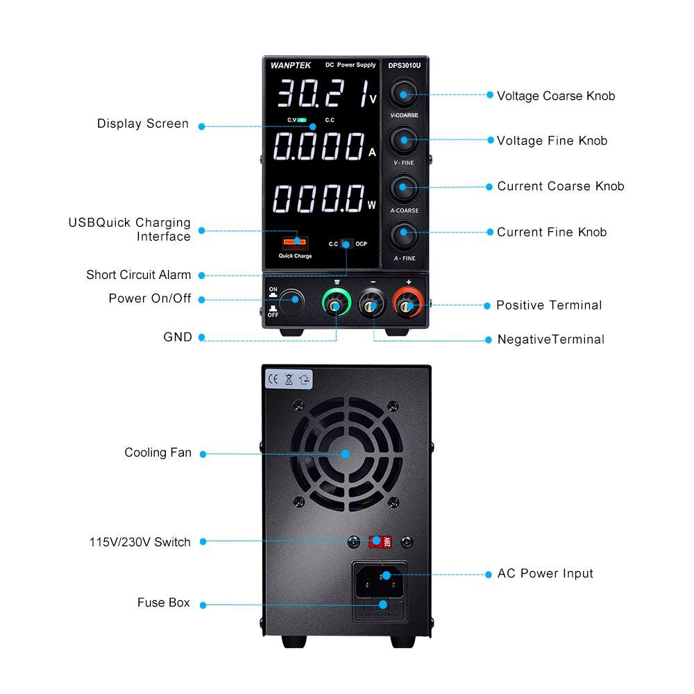 Wanptek DPS3010U 305U 605U switching DC power supply adjustable 4 digit lab Bench power source 30V 10A 30V 5A 0.01V 0.001A AC-3