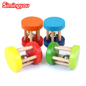 Simingyou Funny Wooden Toy 1 Pcs Hand Bells Baby Kid Children Intellectual Educational Toys D10-Q49 Dropshipping (Random) image