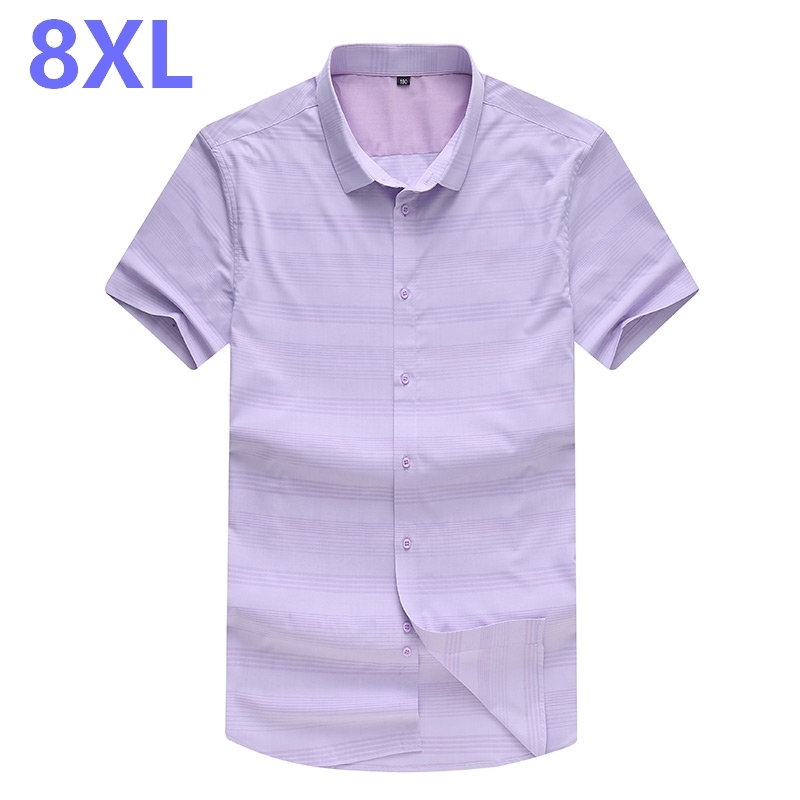 NEW Large Size 8XL 7XL 6XL 5XL Mens Striped Summer Blue Short Sleeve Lapel Male Casual Tops Camisa Masculina Shirts