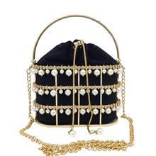 Boutique De FGG Pearl Beaded Evening Clutch Bag Women Luxury