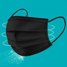 Earloop máscara preta simples para ciclismo acampamento 1pc lavável reutilizável algodão boca rosto máscaras capa boca bocas mascarilla lavável