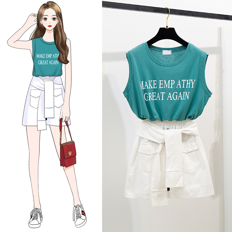 Cool Two-Piece Set Lettered T-shirt Breathable Vest Tops Elastic Waist Bandage Cloth Skirt