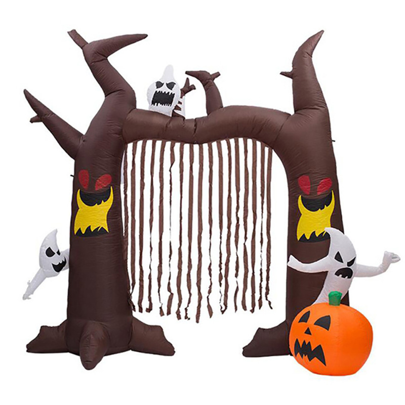 8 Foot High Airblown Halloween Inflatable Ghosts Climbing Pumpkin Arch Archway with Brown Streamers Halloween Party Decorations
