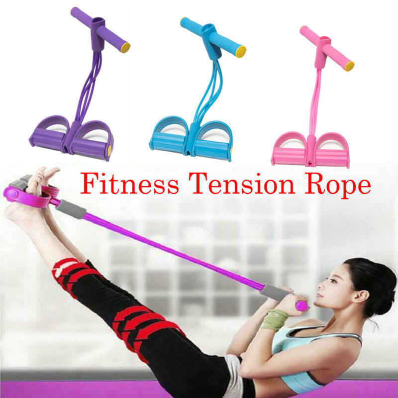 Leg Pedal Puller Resistance Band 4 Tube Tension Rope Fitness Home Workout Set