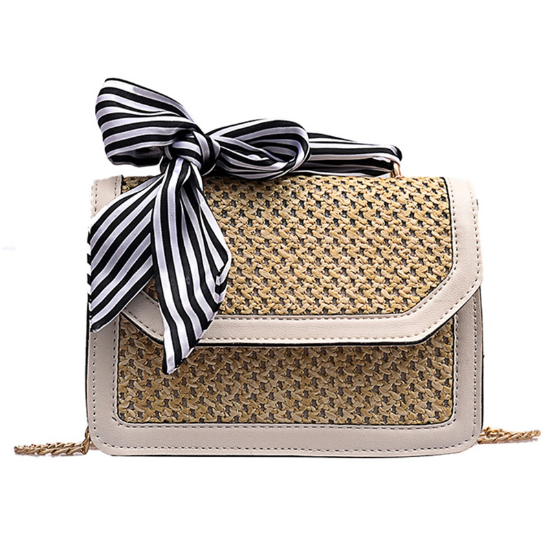 Women Ribbon Straw Bag Female Summer Rattan Handbag Ins Popular Lady Casual Clutch Bag Travel Handmade Knitted Crossbody