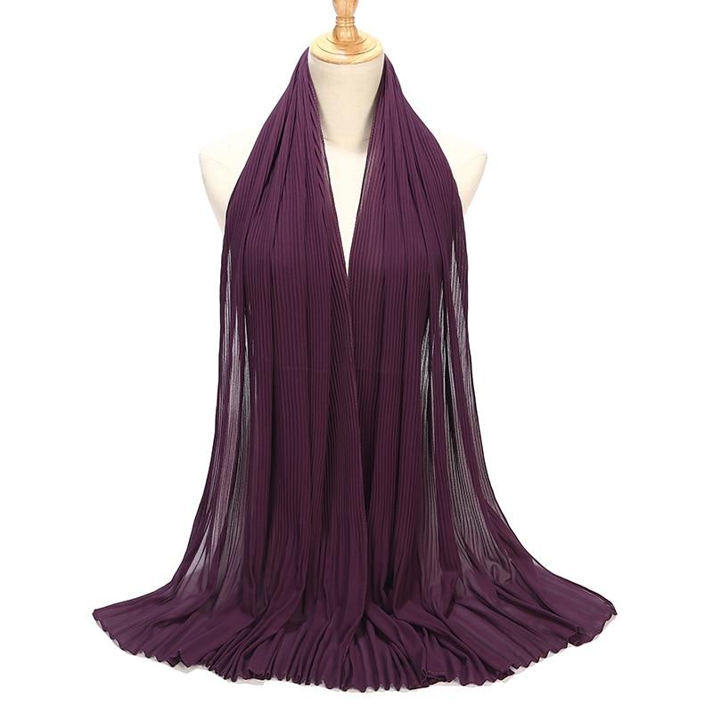 HOT SALE Malaysia STYLE Hijab Tudung Bubble Chiffon Scarf Pleated Muslim Women Shawl Crumple Wrap Scarves Hijab 85*180cm