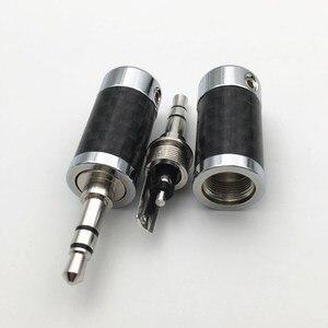 Image 2 - 4Pcs Rhodium Plated 3.5mm / 4.4mm 3 5 Pole Stereo Earphone Plug Carbon Fiber HiFi Headset  Audio DIY Jack Solder Connector