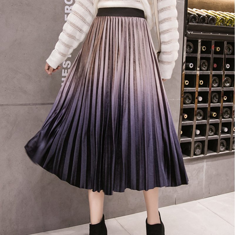 2019 Autumn Women Pleated Skirt Vintage Long Midi Skirt Korean Style High Waist Women Maxi Skirt Gradient Colour Pleated Skirt