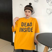 Korean Letter Print T Shirt Loose Wild Basic Big T Shirt Women Harajuku Plus Size T Shirt For Bad Girls Club Women Emo Clothing(China)