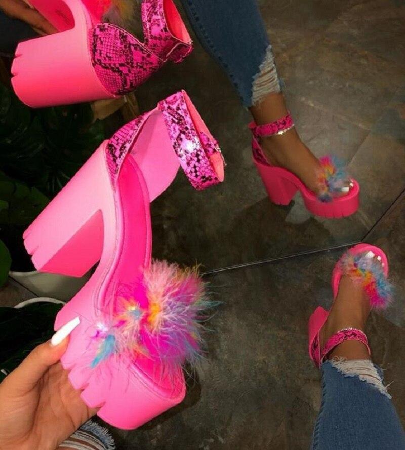 Women Shoes High Heel Platform Fashion Summer Sandals For Women Slip On Shoes Ladies Ankle Strap Shoes 9104