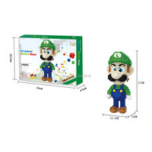 Hot Legoinglys Pencipta Klasik Game Super Mario Bros Luigi Angka Model Mini Mikro Berlian Blok Batu Bata Mainan Hadiah(China)