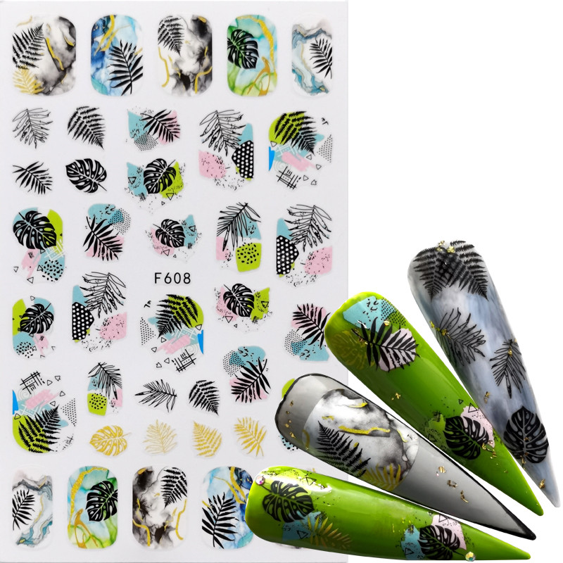 1pcs Black Green 3D Nail Stickers Adhesive Decals Letter Flowers Leaf Geometry Designs Sliders Tattoo Manicure Decorations