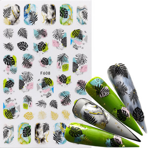 1pcs Black Green 3D Nail Stickers Adhesive Decals Letter Flowers Leaf Geometry Designs Sliders Tattoo Manicure Decorations(China)