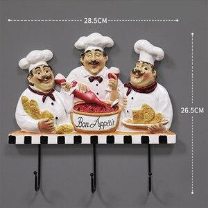 Image 5 - Creative מטבח קיר ווי שף צלמית קיר מתלה שרף קרפט לסלון מטבח אופי דגם קישוטי גינת בית