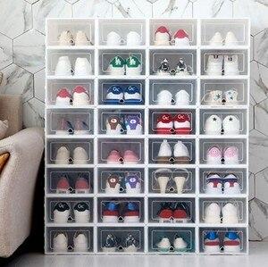 Flip Shoes Box Thickened Transparent Drawer Case Plastic Shoe Boxes Stackable Box Shoe Organizer Shoebox Storage Shoe Rack #C2